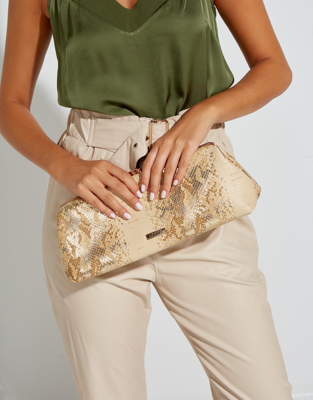 Pochette bag with snake print