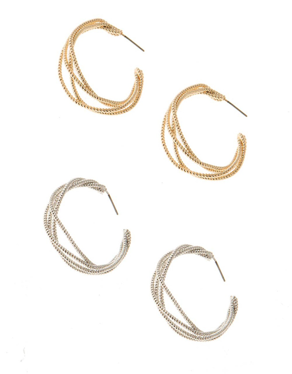 Set of ear hoops with woven look