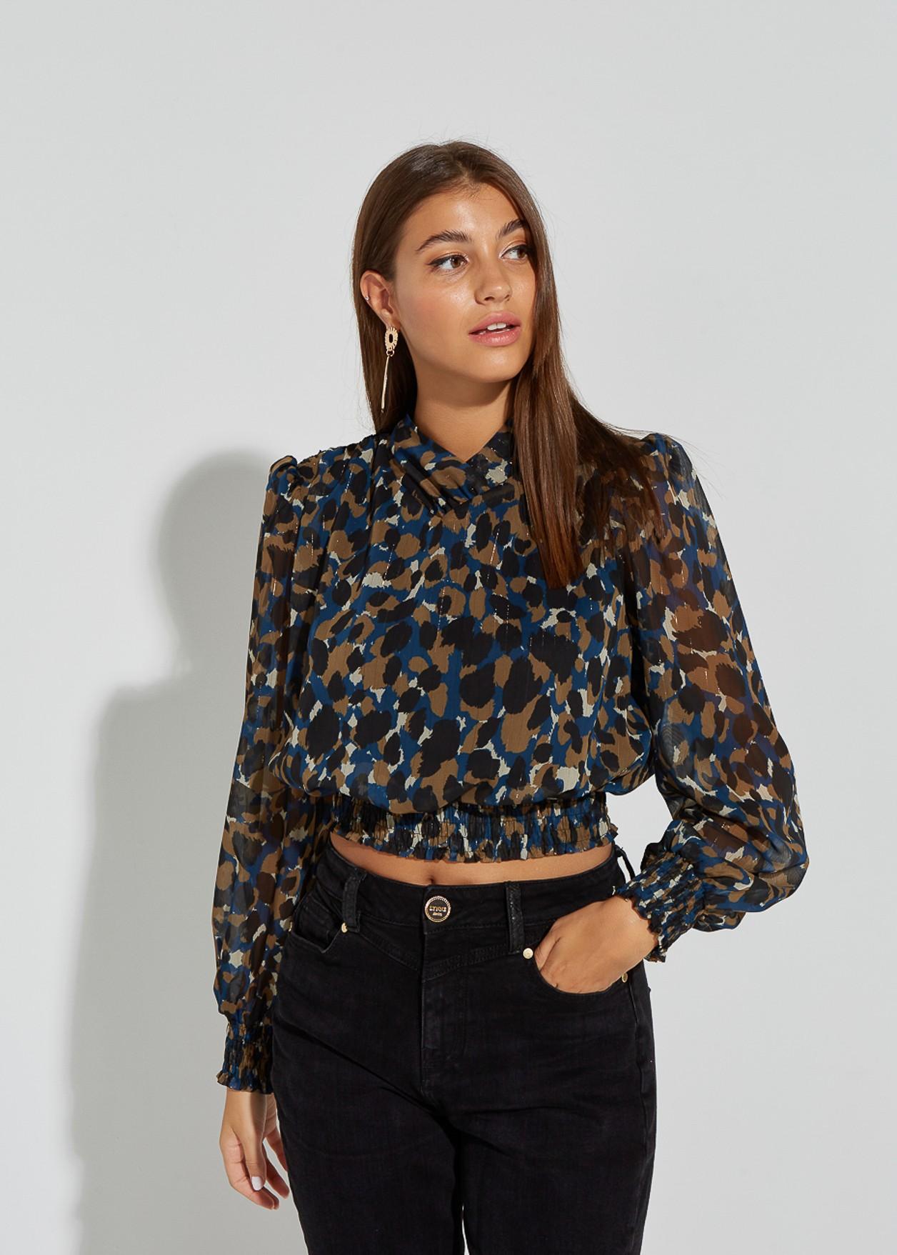 Animal print blouse with wrap neckline