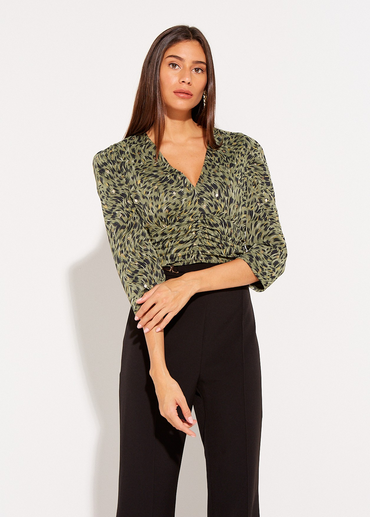 Printed crop top with ruffles