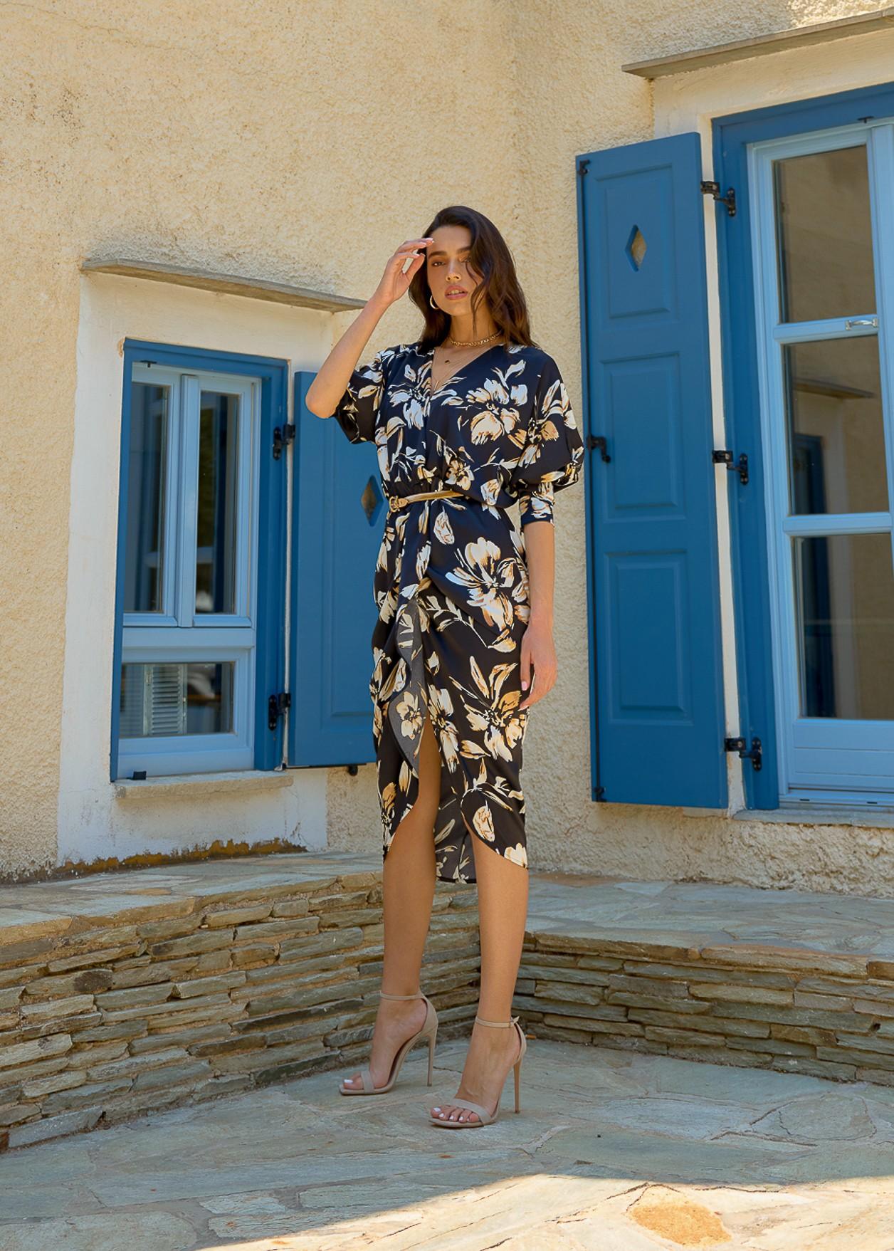 Midi wrap floral dress