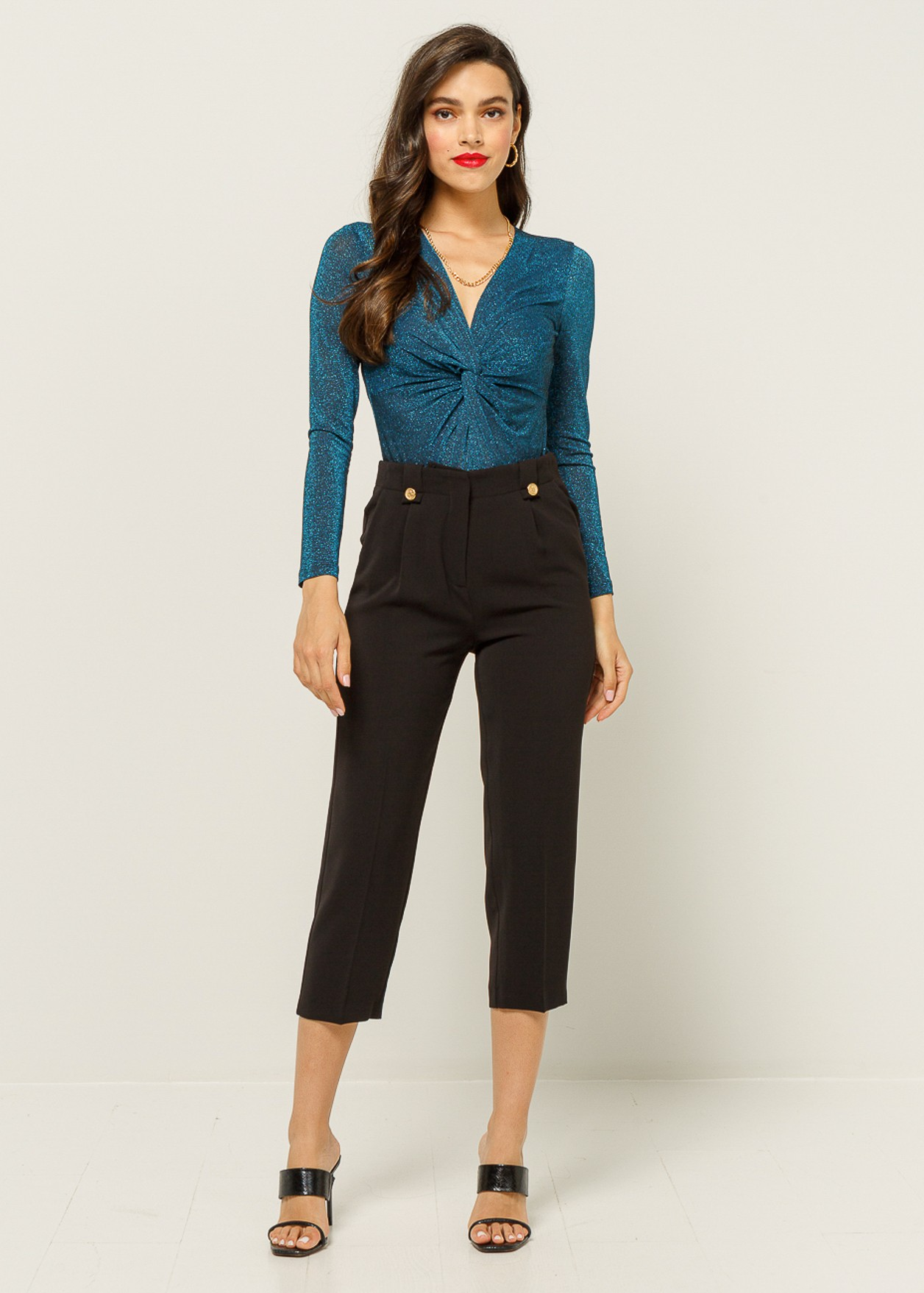 Crop trouser with pleat detail
